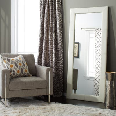 Abbyson Delano Ivory Leather Floor Mirror