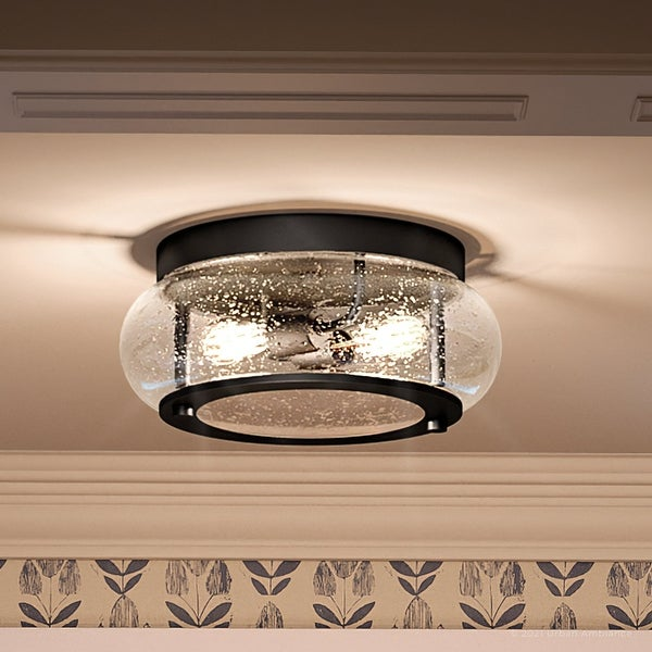 """Luxury Utilitarian Ceiling Light, 5.75""""H x 12""""W, with Coastal Style, Black Bronze, UQL3291 by Urban Ambiance. Opens flyout."""
