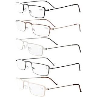 Eyekepepr 5-Pack Stainless Steel Frame Half-eye Style Reading Glasses+1.5