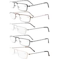 Eyekepepr 5-Pack Stainless Steel Frame Half-eye Style Reading Glasses+2.75