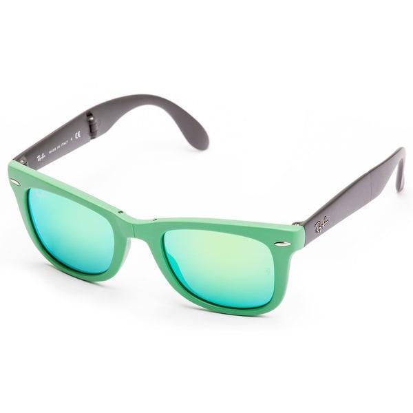 Shop Ray-Ban Folding Wayfarer Sunglasses (Green   Green Flash) - Free  Shipping Today - Overstock.com - 19458380 d1a288da3b
