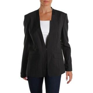 BOSS Hugo Boss Womens Jonida Wool Leather Trim Blazer - 10