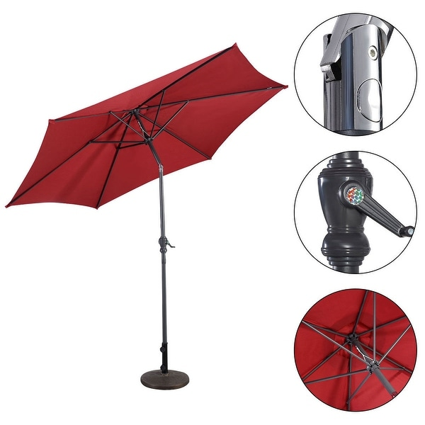 Costway 10FT Patio Umbrella 6 Ribs Market Steel Tilt W/ Crank Outdoor Garden Burgundy - Red