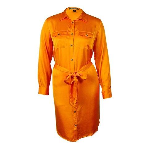Lauren Ralph Lauren Women's Belted Satin Shirtdress