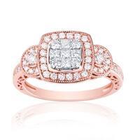 0.79ct Natural G-H/SI1 Princess & Round Diamond Enggagement Ring - White G-H