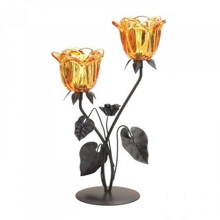 Set of 2 Double Amber Floral Candleholders