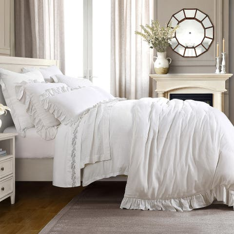 Lily 3 PC Washed Linen Duvet Set, Queen White
