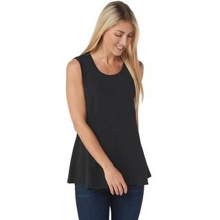 Link to Isaac Mizrahi Womens Scoop Neck Seam Peplum Knit Tank Top Plus 1X Black A353845 Similar Items in Loungewear