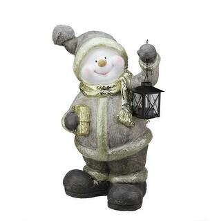 "19"" Gold Metallic Snowman with Lantern Christmas Table Top Decoration"