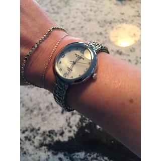 Akribos XXIV Women's Quartz Diamond Markers Expandable Silver-Tone Bracelet Watch