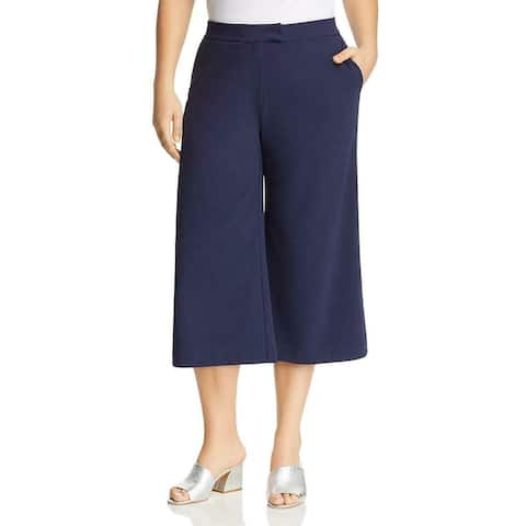 MICHAEL Michael Kors Womens Blue Size 1X Plus Slit Dress Pants Stretch