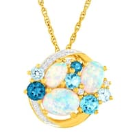 2 3/8 ct Created Opal, White Sapphire & Natural Blue Topaz Pendant in 14K Gold-Plated Sterling Silver