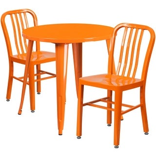 Brimmes 3pcs Round 30'' Orange Metal Table w/2 Vertical Slat Back Chairs
