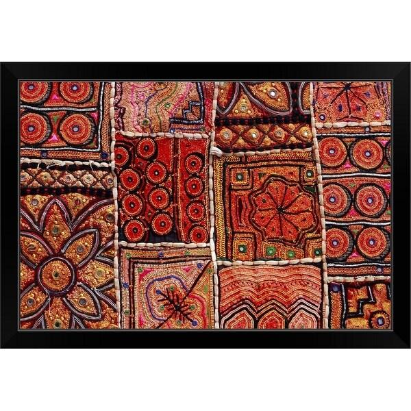 """Handicraft fabric art."" Black Framed Print"