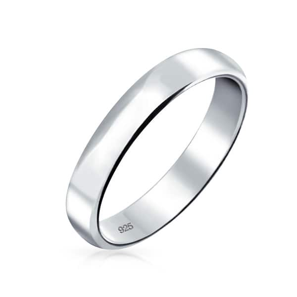 Shop Plain Simple 925 Sterling Silver Dome Couples Wedding Band Ring 4mm On Sale Overstock 17996340