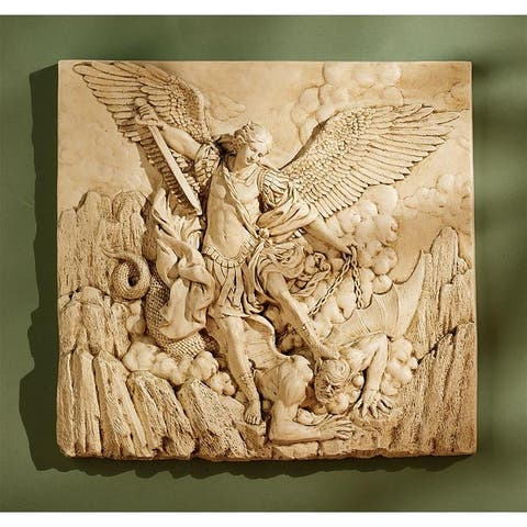 Design Toscano St. Michael the Archangel Sculptural Wall Frieze