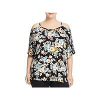 Alison Andrews Womens Plus Casual Top Floral Print Cold Shoulder