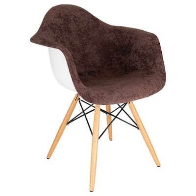 LeisureMod Willow Velvet Accent Armchair W/ Eiffel Wooden Base