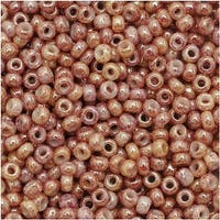 Toho Round Seed Beads 11/0 1201 'Marbled Opaque Beige/Pink' 8 Gram Tube