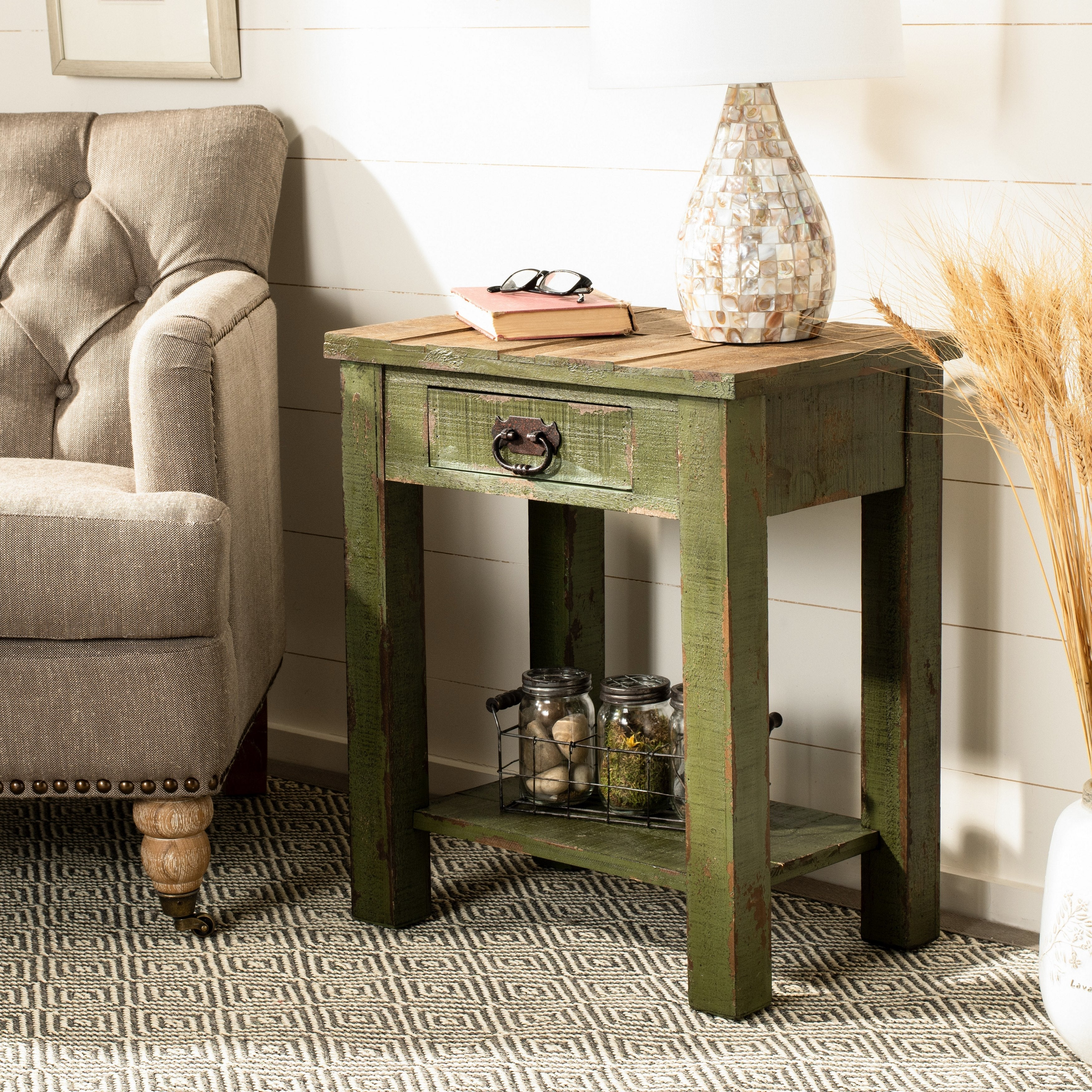 - Shop Safavieh Alfred Antique Green Accent Table - 21