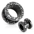 Black and White Splatter 316L Surgical Steel Screw Fit Tunnel (Sold Individually) - Thumbnail 0