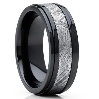 Link to Oliveti Black Zirconium and Real Muonionalusta Meteorite Inlay Wedding Band Ring 8mm Comfort Fit Similar Items in Men's Jewelry