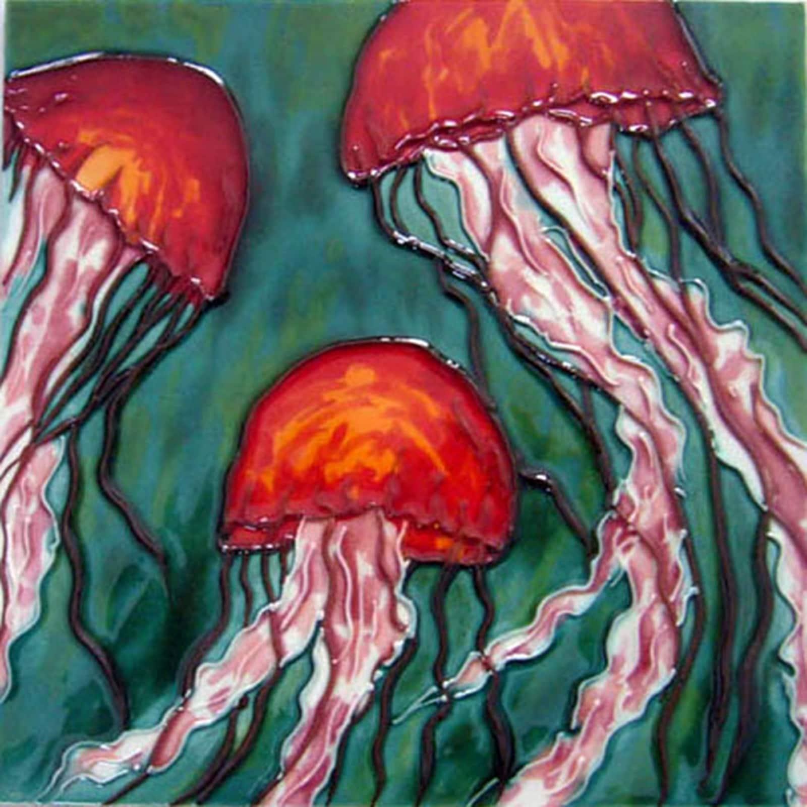 Orange Octopus in Ocean Ceramic Tile 4 Inches