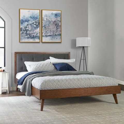 Upholstered Mid-century Modern Platform Bed with Upholstered Headboard