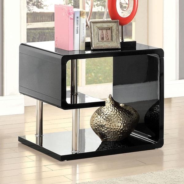 Furniture of America Inomata Modern Geometric High Gloss End Table. Opens flyout.