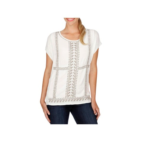 Lucky Brand Womens Pullover Sweater Embroidered Hi-Low