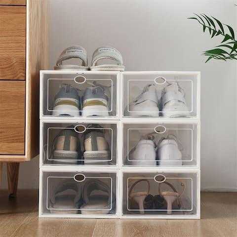 Shoe Storage Boxes 12 Pack Clear Plastic Organizer - 6 x 29 x 23 - 6 x 29 x 23
