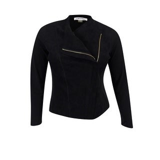 Calvin Klein Women's Faux-Suede Jersey Jacket - Black (2 options available)