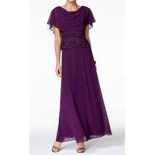 Jessica Howard Purple Womens Size 14 Lace Chiffon Cape Gown Dress
