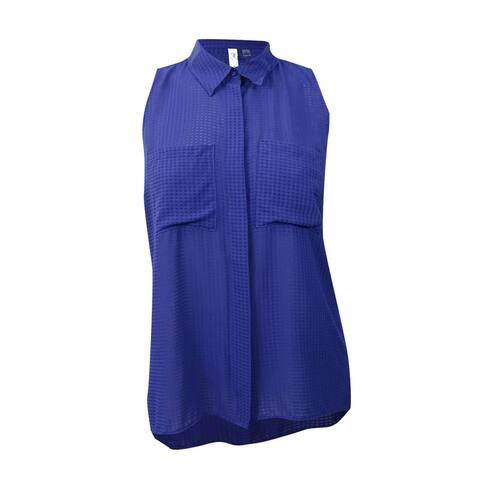 NY Collection Women's Plus Size Utility Blouse - Spectrum Blue