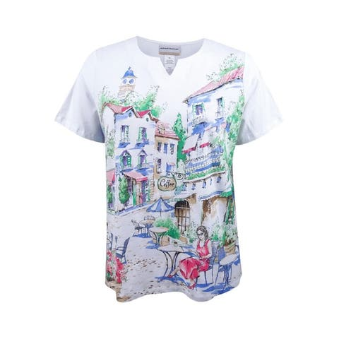 Alfred Dunner Women's Plus Size Cafe Scenic Graphic T-Shirt (1X, Multi) - Multi - 1X