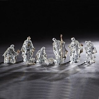 """Set of 2 Clear 8 Piece Glossy Finished Religious Nativity Tabletop Figurines 6.25"""""""