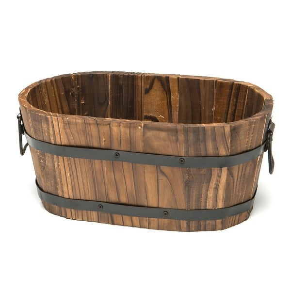 Small Oval Wooden Planter. Opens flyout.