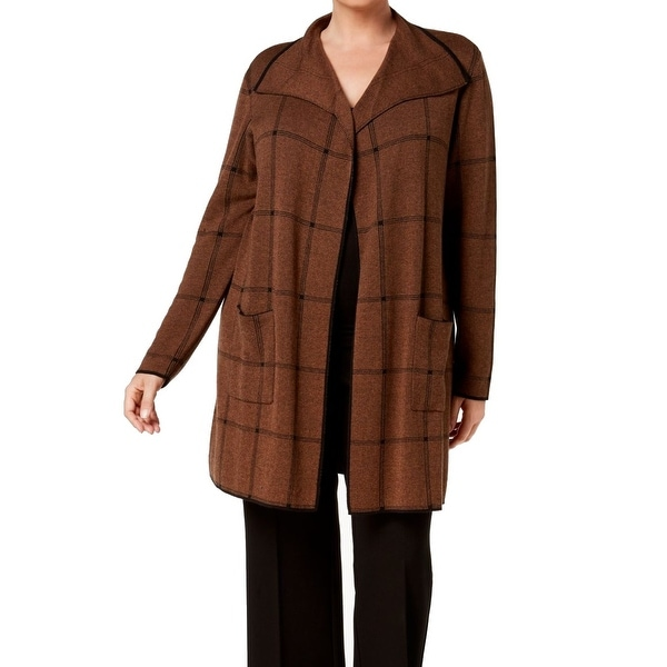 Kasper Brown Women's Size 1X Plus Draped Plaid Windowpane Jacket