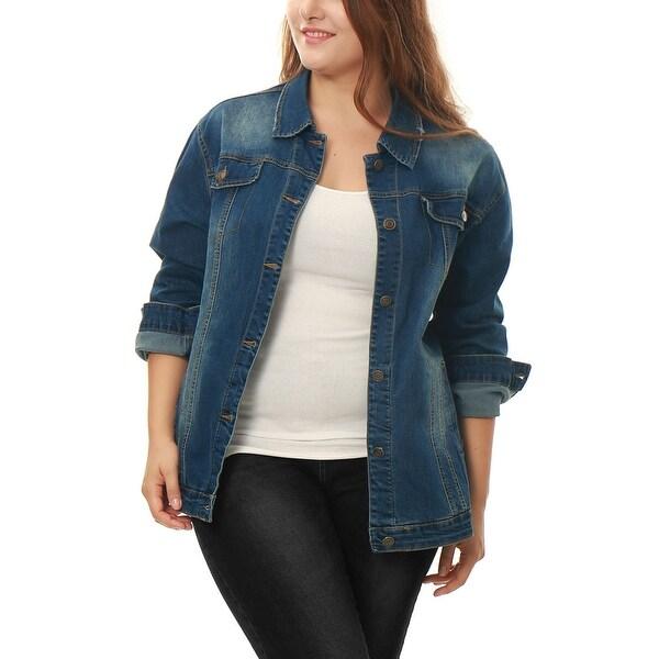 Allegra K Womens Plus Jean Jacket Plus Size Washed Denim Jacket