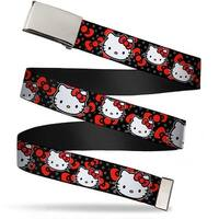 Blank Chrome Bo Buckle Hello Kitty Multi Face W Mini Dots Bows Black Web Belt