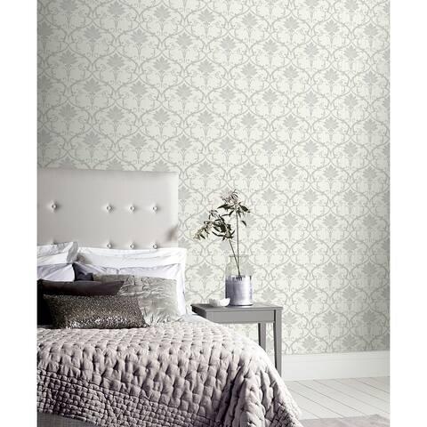 Arthouse Divine Damask Grey Non-Woven Peel & Stick Wallpaper