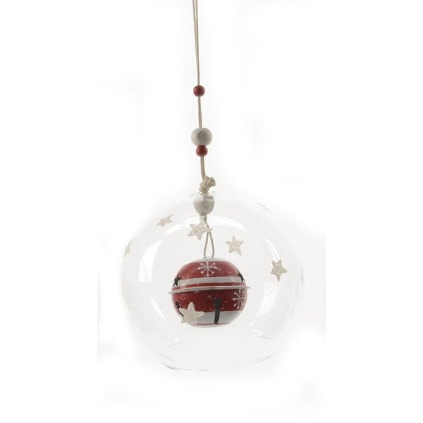 "Alpine Chic Red and White Striped Jingle Bell in Glass Christmas Ball Ornament 3.5"" (90mm) - CLEAR"