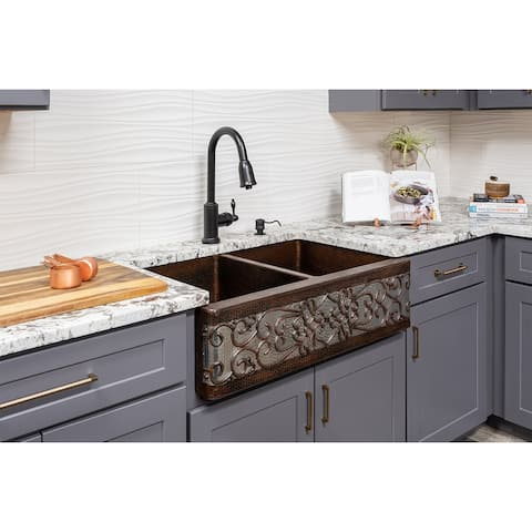 Premier Copper Products KSP2_KA50DB33229S-NB Kitchen Sink, Pull Down Faucet and Accessories Package