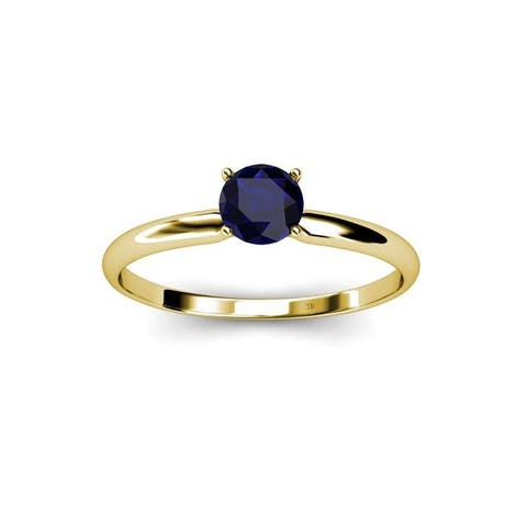 TriJewels Blue Sapphire 1/2ct Women Solitaire Engagement Ring 14K Gold