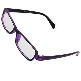 Unisex Clear Lens Purple Black Rectangle Frame Eyeglasses