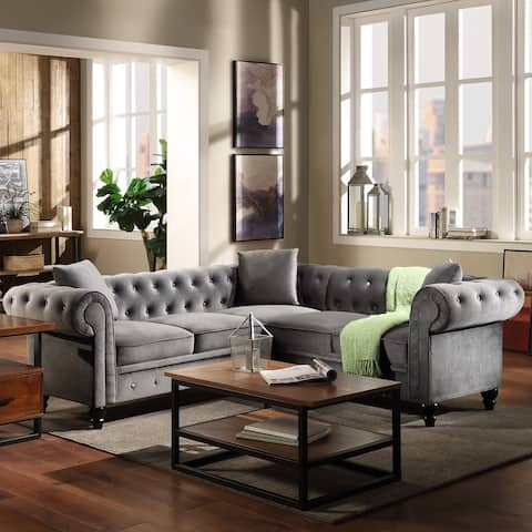 Tufted Velvet Upholstered Rolled Arm Classic Chesterfield Sectional Sofa
