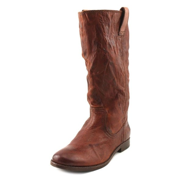 Frye Anna Mid Women Round Toe Leather Brown Mid Calf Boot