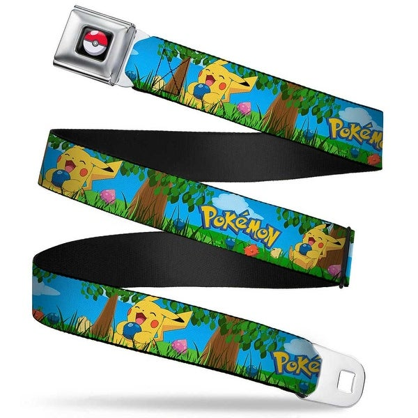 Pok Ball Full Color Black Pokmon Pikachu Sitting Under Tree Laughing Seatbelt Belt