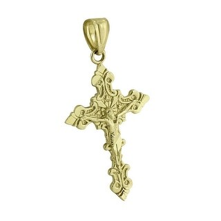 Real 10K Yellow Gold Jesus Christ Crucifix Cross Pendant Mens Charm