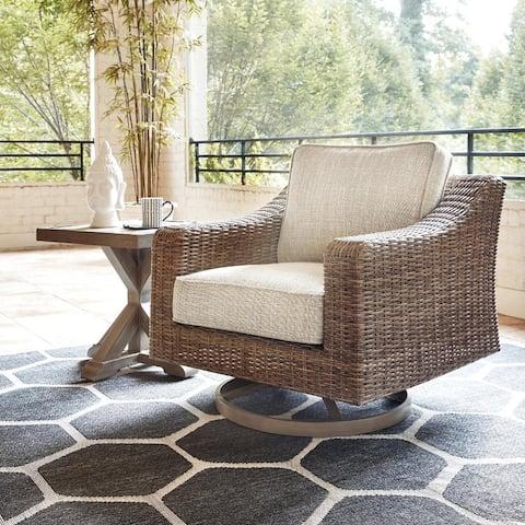 Sandestria Beige Outdoor Swivel Lounge Chair by Havenside Home